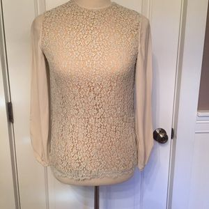 ⭐️ CHLOE TOP BLOUSE TAN FLORAL LACE KEYHOLE XS